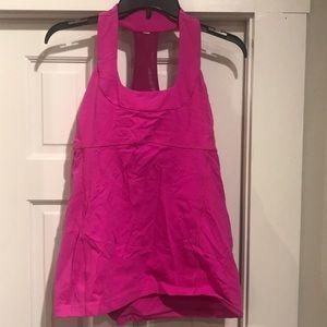 Pink Lululemon scoop neck racerback tank size 10